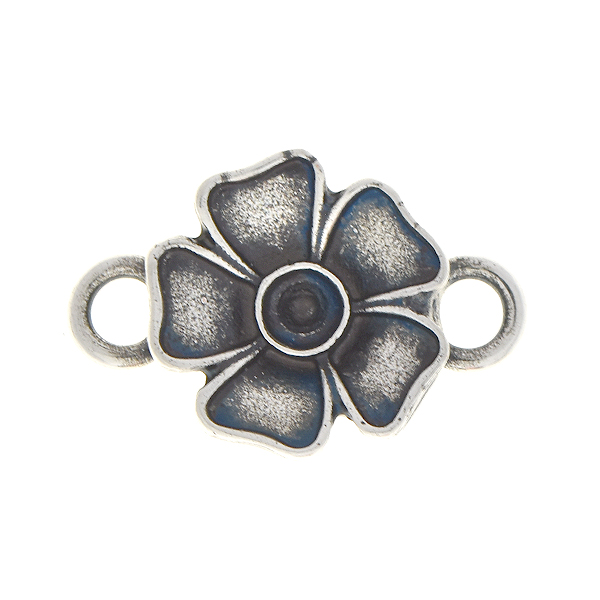 24pp Metal flower jewelry connector with two side loops