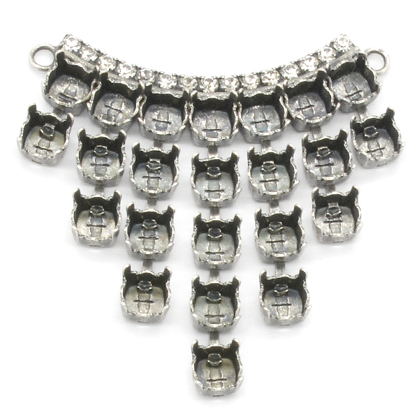 Drops Rounded Center piece for necklace 29ss with Rhinestones chain