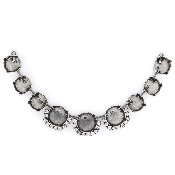 12mm, 14mm Rivoli Cup chain Centerpiece for Necklace with SW rhinestone - 9 settings