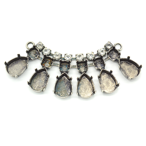 Pear Shape 10X14mm,29ss Necklace center piece with Crystals and two side loops-6 Settings