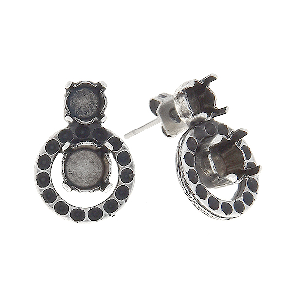 8pp, 24ss, 29ss Stud earring base with hollow circle