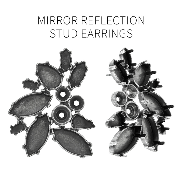 Mixed size stone settings mirror reflection fancy stud earring bases