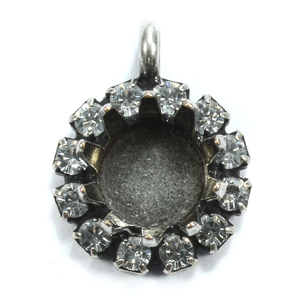 39ss Crown pendant base with Rhinestoness and top loop