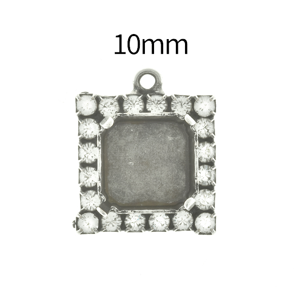 10mm Imperial  4480 Square Stone setting with Rhinestoness and top loop