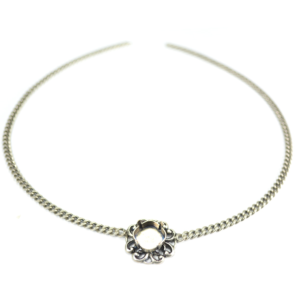 Gourmet chain with central 12-12mm vintage pendant base