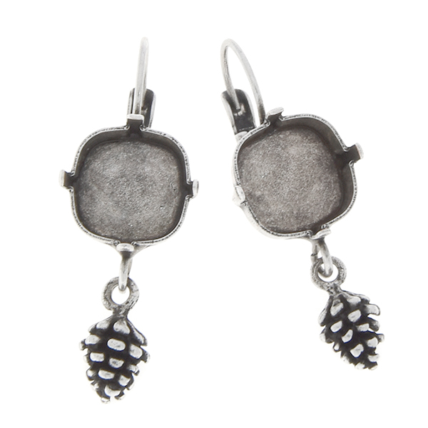 12x12mm Square with Pinecone Lever back earring base