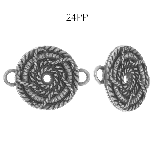 24pp round decorated rope metal casting element with two side loops Pendant/Connector base