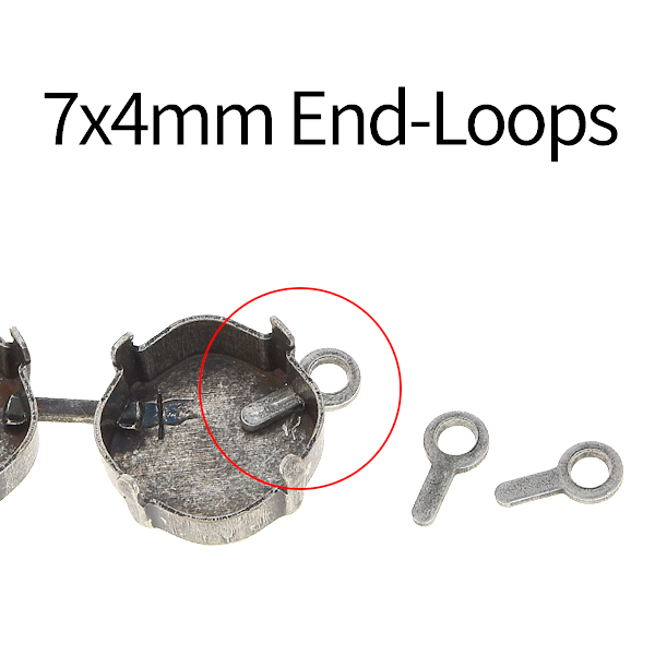 100 PCS of 7x4mm End-loop for jewelry cup chain