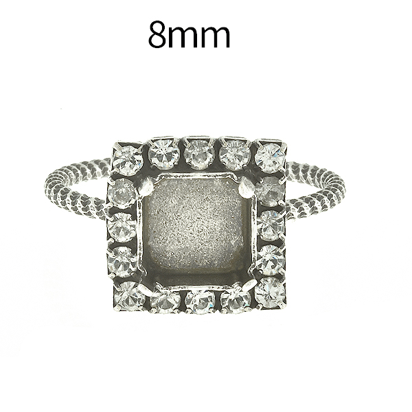 8mm Imperial 4480 Adjustable Thin ring base with Rhinestoness