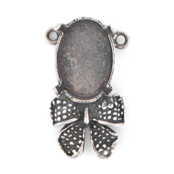 14x10mm Oval Pendant base with Bow and 2 loops