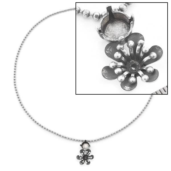 24ss, 39ss Ball Chain Necklace base with Flower Pendant