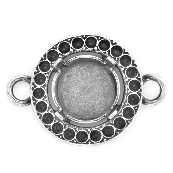 8pp, 10mm Rivoli Round Jewelry Connector with two side loops