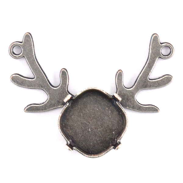 Square 12-12mm Deer pendant base with two top loops