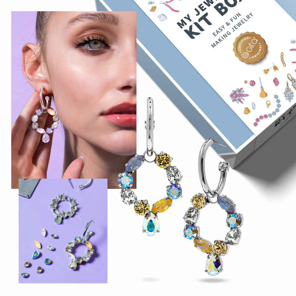 Jewelry DIY KIT: Create modern nickel Sparkling circle-shape earrings with Crystals