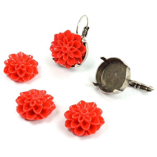 16mm Flower cabochon Red color
