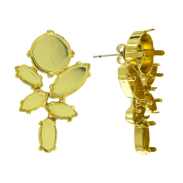 Mixed size settings mirror reflection Stud Earring bases