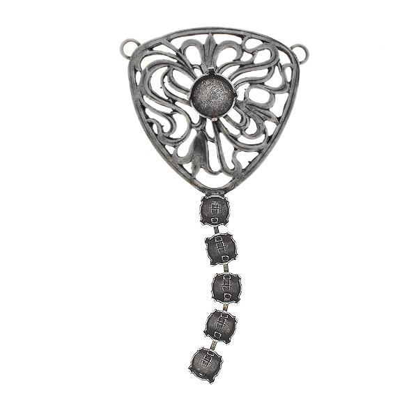 39ss, 12mm Rivoli Filigree triangle pendant base with hanging cup chain