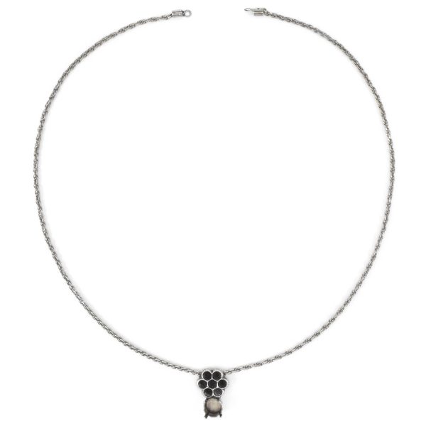 39ss, 24pp Flower Pendant Necklace base with 2mm Thin Rope Chain