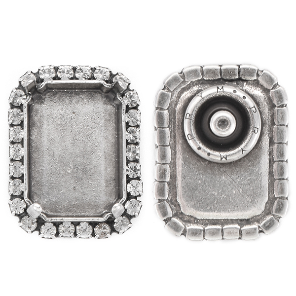18x13mm Octagon empty stone setting Snap Button with Rhinestones