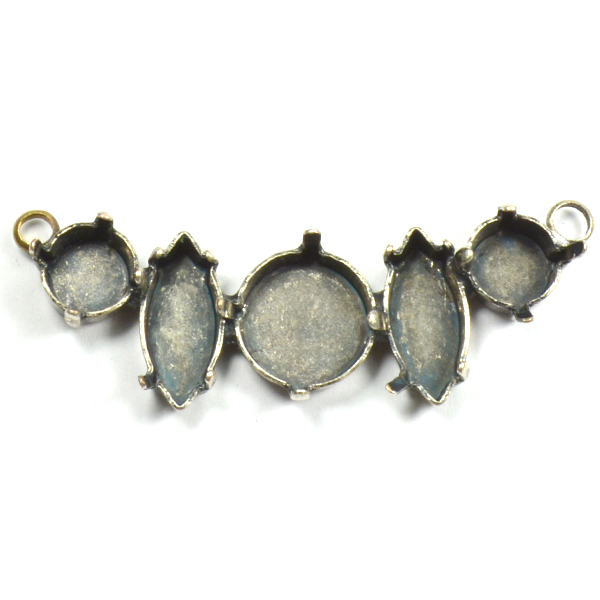 Inflexible decorated pendant base with 2 loops on the top sides