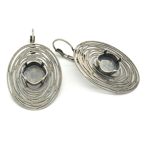 12x12mm Square Spiral Oval Earring base