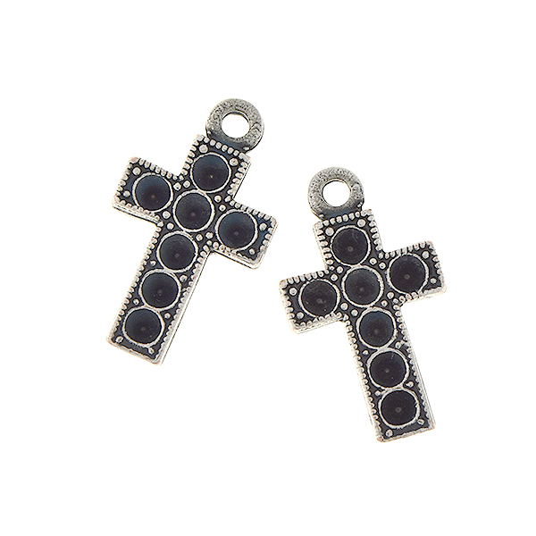 14pp Cross metal casting charm with one top loop