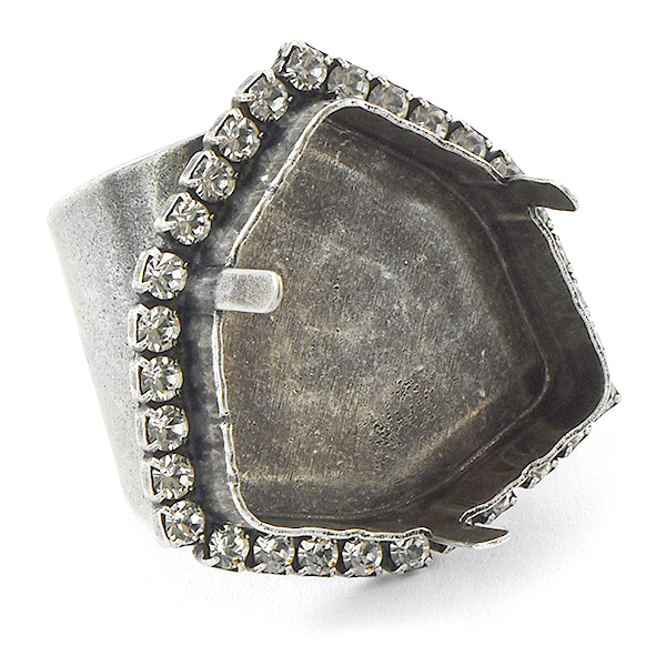 24mm Trilliant Adjustable Wide Ring base with Rhinestones
