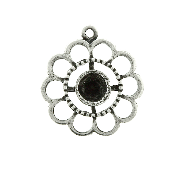 24ss Chamomile Flower metal casting Pendant base with top loop