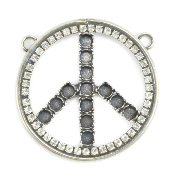 24ss Decorated Peace Pendant base with tow top loops and crystals