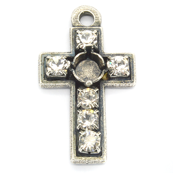 29ss Cross Pendant with top loop and rhinestone