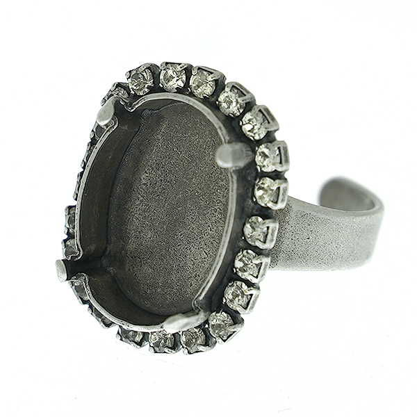 13-18mm Oval vertical ring base for Crystals