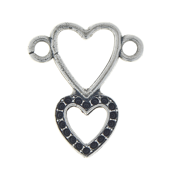 8pp Double hearts pendant base with two loops