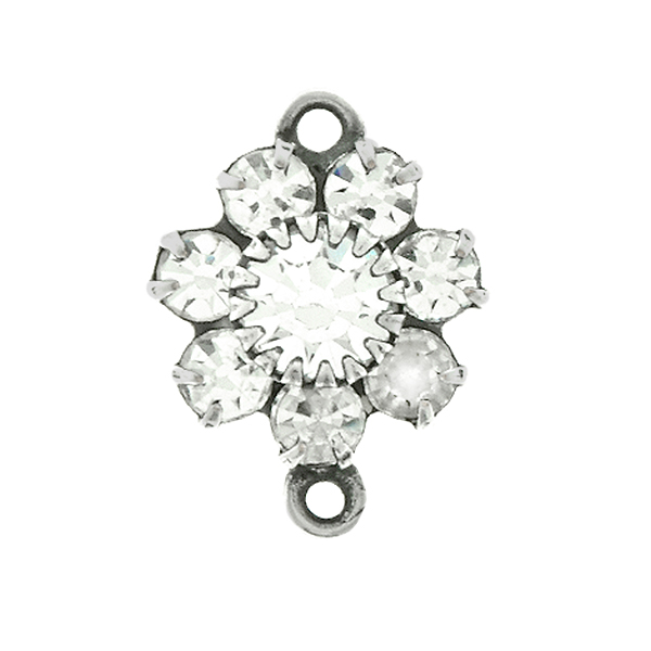 Swarovski Crystal color crown setting Flower Connector base with two side loops