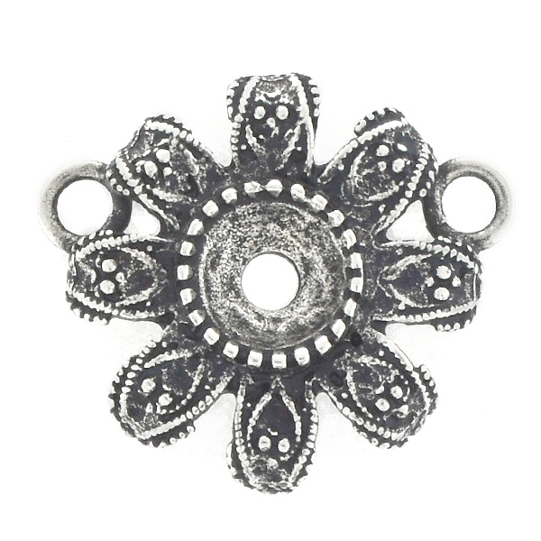 39ss Metal casting Flower Pendant base with two loops