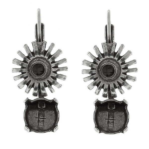 39ss cup chain and metal sunflower elements Lever Back Earring bases