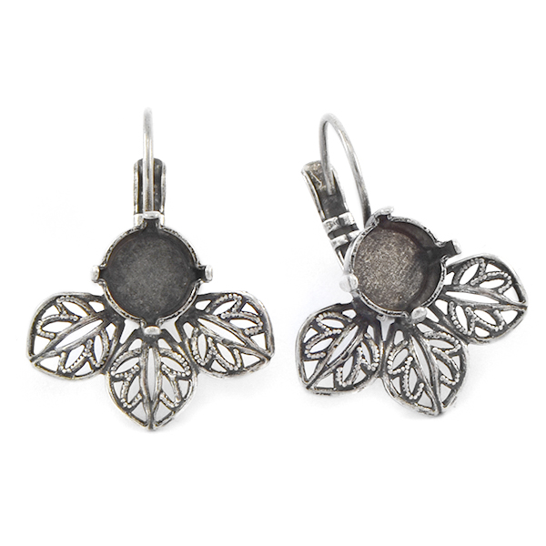 39ss Lever back Earring base with Filigree Leaves