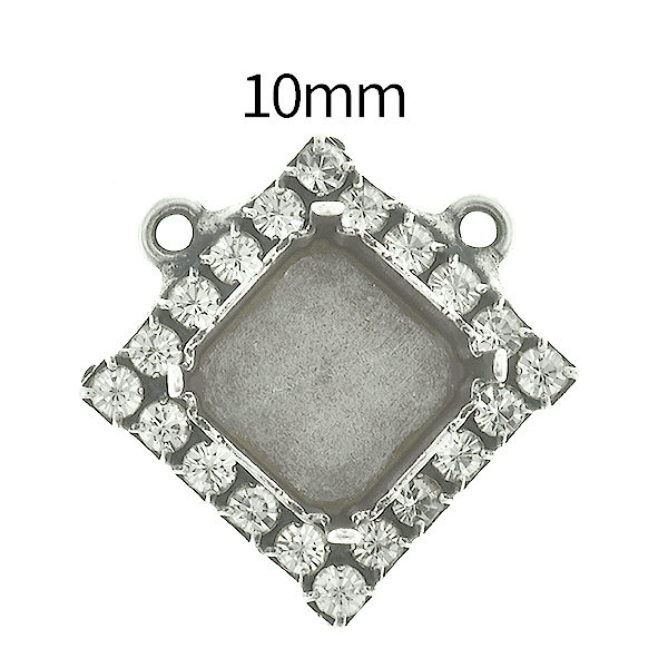 10mm Imperial  4480 Lozenge Stone setting with Rhinestoness and two top loops