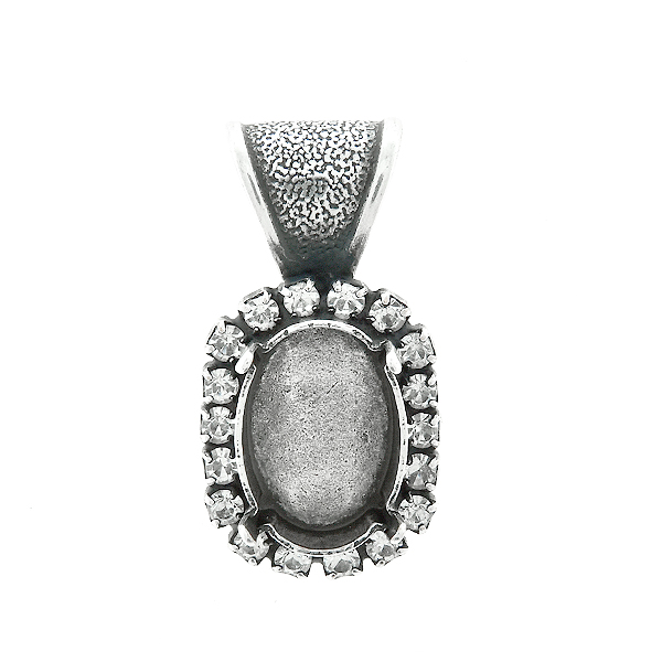 14x10mm Oval  stone setting with Rhinestoness  Pendant base with bail