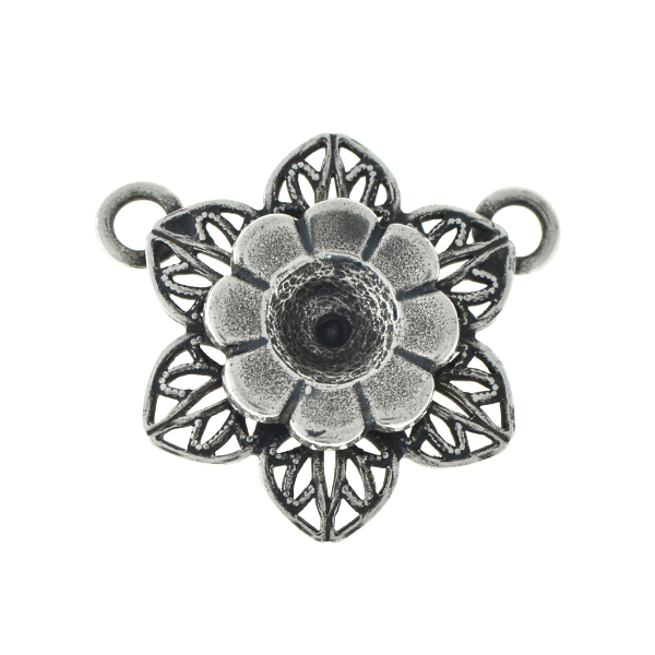 29ss metal flower with filigree petals pendant with two top loops