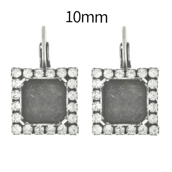 10mm Imperial 4480 Square Lever Back Earring bases with Rhinestones
