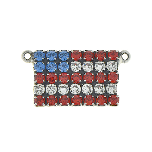 Flag of USA 18pp Rhinestones pendant base with two loops