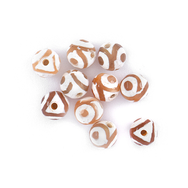 6mm Faceted Round natural Agate Beads Light Brown Eye color - 10 pcs pack