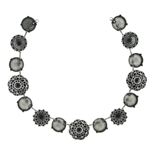 Flower Embedding Elements on 14mm Rivoli Cup Chain Necklace base