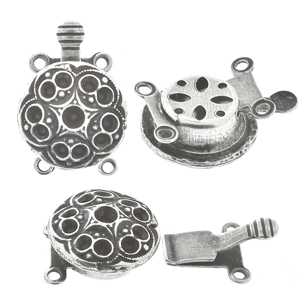 18pp and 14pp metal casting Flower on Decorated Hidden Round Box Clasp