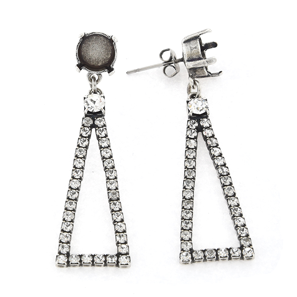 39ss with hanging hollow triangle Stud Earring base