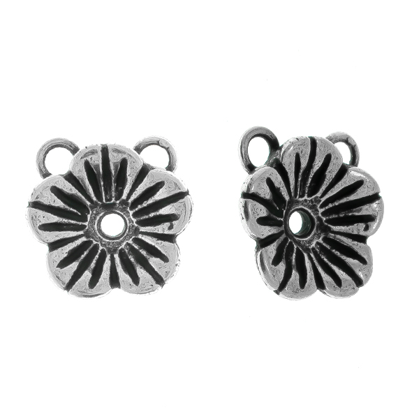 24ss Buttercup Flower metal casting Pendant base with two top loops