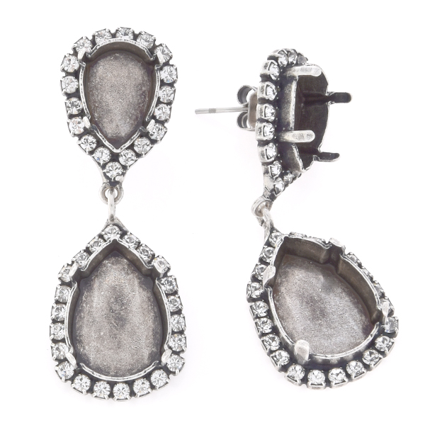14x10mm and 18x13mm Pear shape with Rhinestones Stud hanging earring base