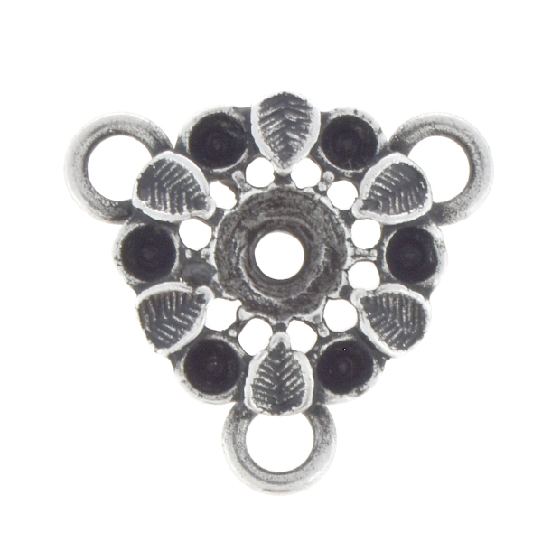 14pp, 24ss Flower with leaves jewelry connector with three loops