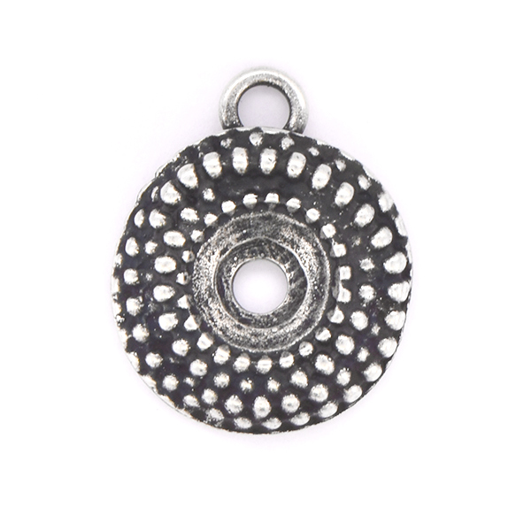 39ss Round Dotted Pendant base with top loop