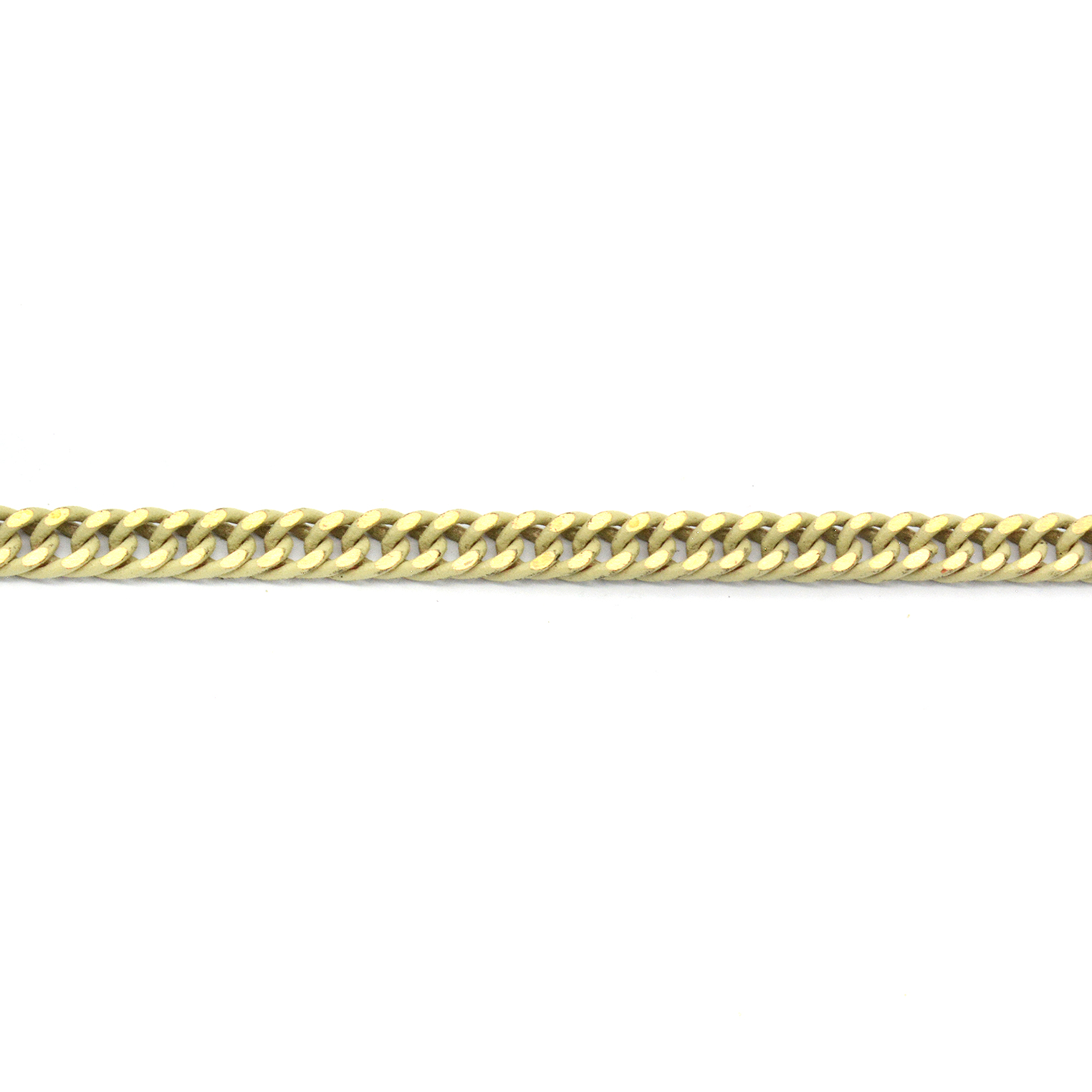 Polished Cream enamel stainless steel curb (gourmette) chain 4mm